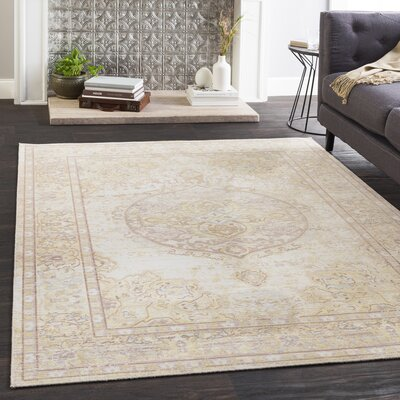 Kahina Vintage Yellow Area Rug Rug Size: Rectangle 53 x 73