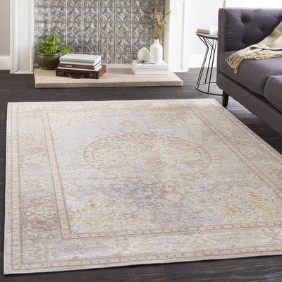 Kahina Vintage Floral Gray Area Rug Rug Size: Rectangle 9 x 13