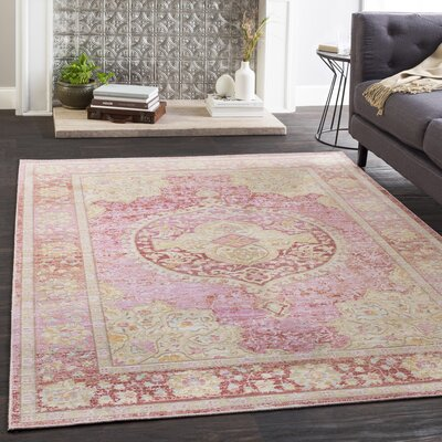 Kahina Vintage Floral Pink/Yellow Area Rug Rug Size: Rectangle 53 x 73