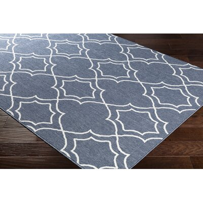 Gilead Trellis Charcoal/White Indoor/Outdoor Area Rug Rug Size: Rectangle 76 x 109