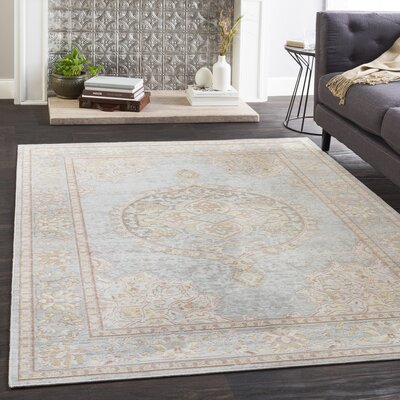Kahina Vintage Floral Sea Foam/White Area Rug Rug Size: Rectangle 3 x 710