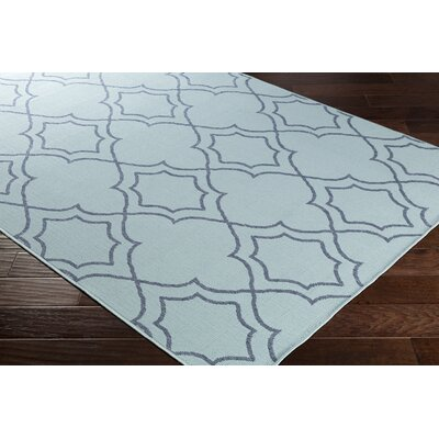 Gilead Trellis Aqua/Charcoal Indoor/Outdoor Area Rug Rug Size: Rectangle 53 x 76