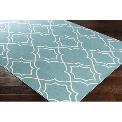 Gilead Trellis Teal/White Indoor/Outdoor Area Rug Rug Size: Rectangle 53 x 76