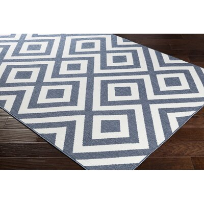 Idabel Geometric Charcoal/White Indoor/Outdoor Area Rug Rug Size: Rectangle 6 x 9