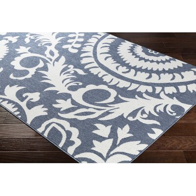 Floral Charcoal/White Indoor/Outdoor Area Rug Rug Size: Rectangle 53 x 76