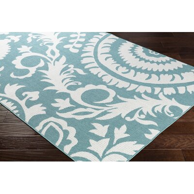 Floral Teal/White Indoor/Outdoor Area Rug Rug Size: Rectangle 53 x 76