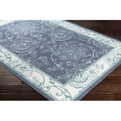Pearce Floral Charcoal/Aqua Indoor/Outdoor Area Rug Rug Size: Rectangle 53 x 76