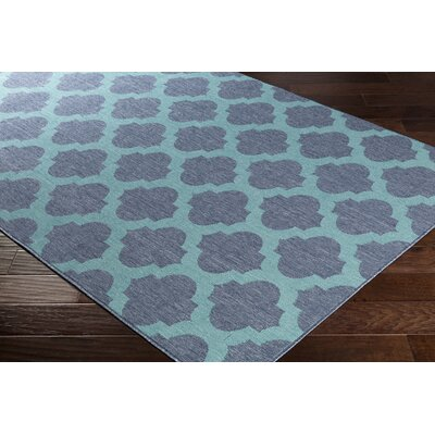 Pearce Trellis Charcoal/Teal Indoor/Outdoor Area Rug Rug Size: Rectangle 76 x 109