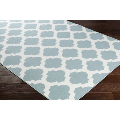 Pearce Trellis Aqua/White Indoor/Outdoor Area Rug Rug Size: Rectangle 53 x 76