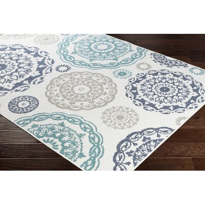 Dutcher Medallion Teal/Charcoal Indoor/Outdoor Area Rug Rug Size: Rectangle 76 x 109