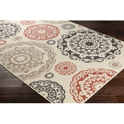 Dutcher Medallion Cream/Black Indoor/Outdoor Area Rug Rug Size: Rectangle 53 x 76