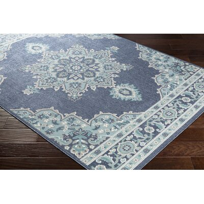 Dutcher Floral Charcoal/Aqua Indoor/Outdoor Area Rug Rug Size: Rectangle 36 x 56