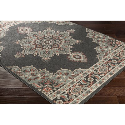 Dutcher Floral Black/Sea Foam Indoor/Outdoor Area Rug Rug Size: Rectangle 36 x 56