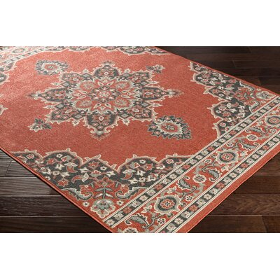 Dutcher Floral Burnt Orange/Black Indoor/Outdoor Area Rug Rug Size: Rectangle 36 x 56