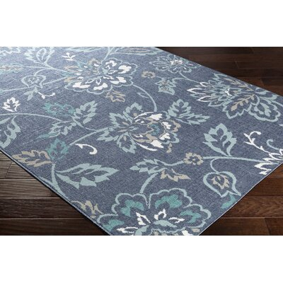 Pearce Floral Charcoal/Aqua Indoor/Outdoor Area Rug Rug Size: Rectangle 76 x 109
