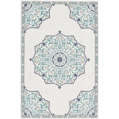 Dutcher Floral Teal/White Indoor/Outdoor Area Rug Rug Size: Rectangle 6 x 9