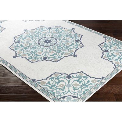 Dutcher Floral Teal/White Indoor/Outdoor Area Rug Rug Size: Rectangle 53 x 76