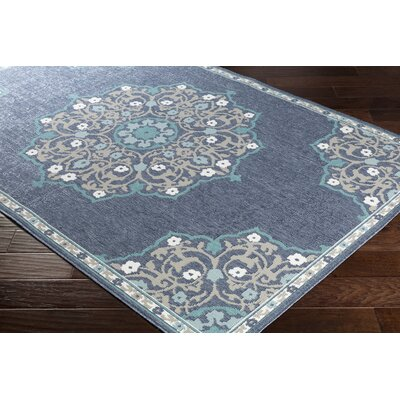 Dutcher Floral Charcoal/Taupe Indoor/Outdoor Area Rug Rug Size: Rectangle 53 x 76