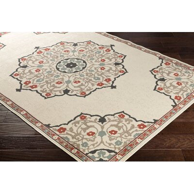 Dutcher Floral Burnt Orange/Camel Indoor/Outdoor Area Rug Rug Size: Rectangle 53 x 76