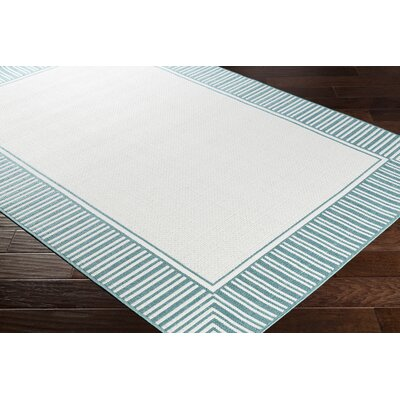 Oliver Teal/White Indoor/Outdoor Area Rug Rug Size: Rectangle 76 x 109