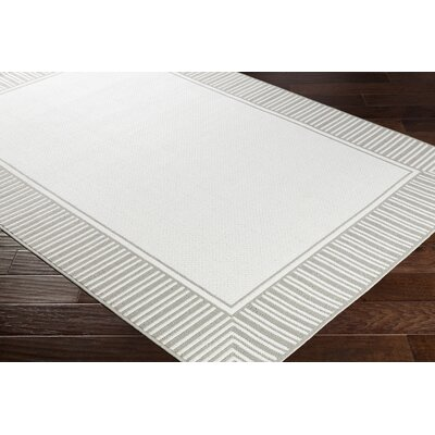 Oliver Taupe/White Indoor/Outdoor Area Rug Rug Size: Rectangle 89 x 129