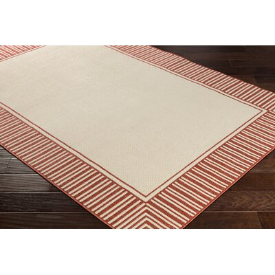 Oliver Burnt Orange/Cream Indoor/Outdoor Area Rug Rug Size: Rectangle 36 x 56