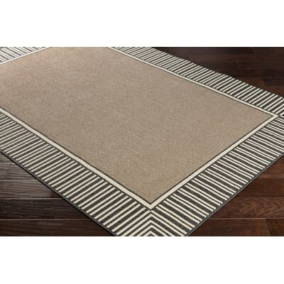 Oliver Camel/Black Indoor/Outdoor Area Rug Rug Size: Rectangle 36 x 56