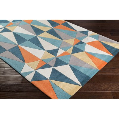 Conroy Hand-Tufted Teal/Taupe Area Rug Rug Size: Rectangle 5 x 8