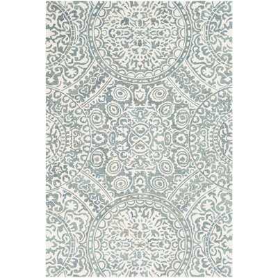 Eady Hand Hooked Wool Teal/Cream Area Rug Rug Size: Rectangle 5 x 76