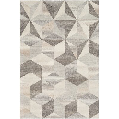 Canady Geometric Hand Hooked Wool Cream/Taupe Area Rug Rug Size: Rectangle 5 x 76