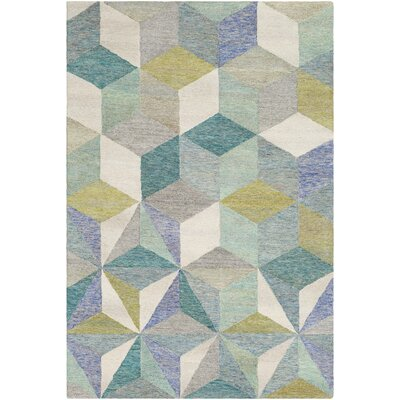 Canady Geometric Hand Hooked Wool Teal Area Rug Rug Size: Rectangle 5 x 76