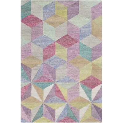 Canady Geometric Hand Hooked Wool Pink/Purple Area Rug Rug Size: Rectangle 8 x 10