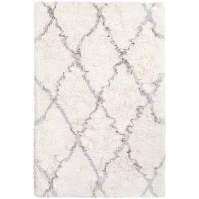 Cianciolo Trellis Hand Tufted Gray/Cream Area Rug Rug Size: Rectangle 5 x 76