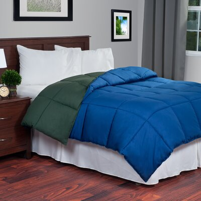 Reversible Fill Warmth Down Alternative Comforter Color: Navy / Green