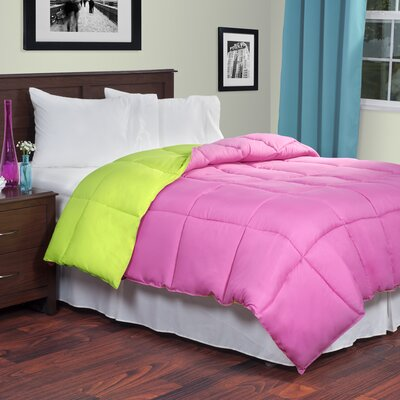 Reversible Fill Warmth Down Alternative Comforter Color: Pink / Lime