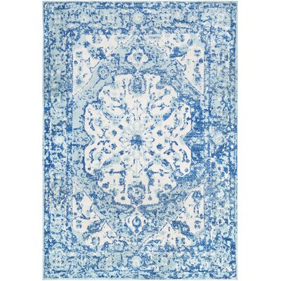 Almonte Aqua/White Area Rug Rug Size: Rectangle 53 x 76