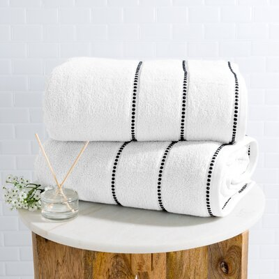 Hughes Zero Twist 2 Piece Bath Sheet Set Color: White
