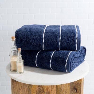 Hughes Zero Twist 2 Piece Bath Sheet Set Color: Navy