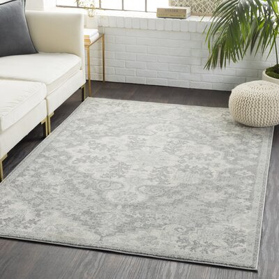 Andover Traditional Floral Gray/Black Area Rug Rug Size: Rectangle 710 x 103