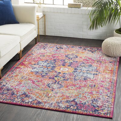 Andover Floral Garnet/Orange Area Rug Rug Size: Rectangle 53 x 73