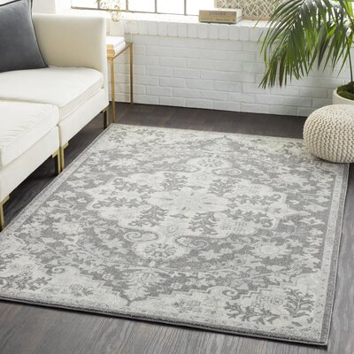 Andover Floral Black/Gray Area Rug Rug Size: Rectangle 710 x 103