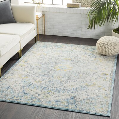 Andover Vintage Floral Teal/Gray Area Rug Rug Size: Rectangle 53 x 73