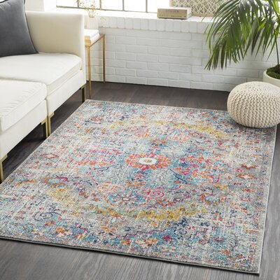 Andover Vintage Navy/Pink Area Rug Rug Size: Rectangle 93 x 126