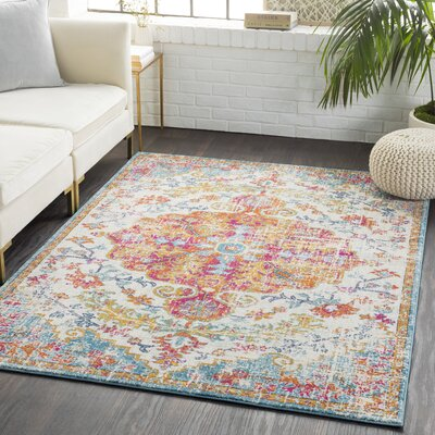 Andover Vintage Floral Garnet/Orange Area Rug Rug Size: Rectangle 93 x 126