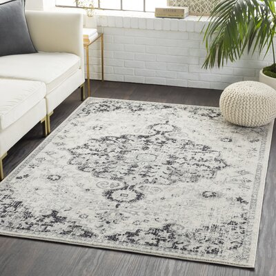 Andover Vintage Floral Black/Gray Area Rug Rug Size: Rectangle 93 x 126