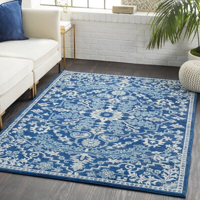 Andover Floral Blue/Beige Area Rug Rug Size: Rectangle 93 x 126