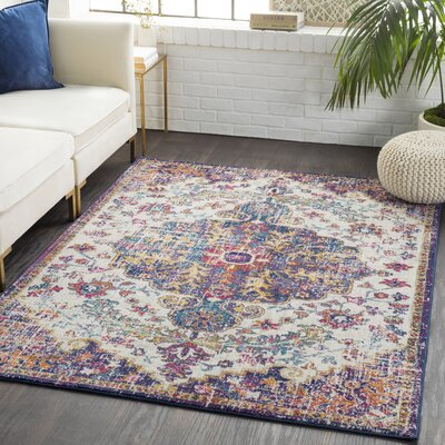 Andover Vintage Floral Blue/Teal Area Rug Rug Size: Rectangle 93 x 126