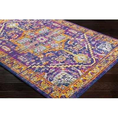 Anil Overdyed Floral Purple/Burnt Orange Area Rug Rug Size: Rectangle 52 x 76