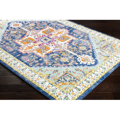 Anil Distressed Floral Mint/Mustard Area Rug Rug Size: Rectangle 76 x 106