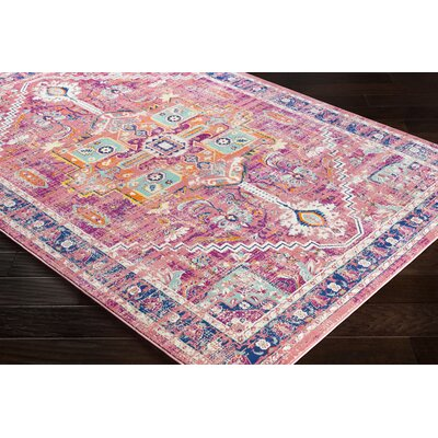 Anil Distressed Floral Garnet/Purple Area Rug Rug Size: Rectangle 76 x 106